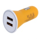 Candy Color 2.1A Dual-Port USB Universal Quick Car Charger Adapter - Yellow (12~24V)