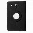 Rotary Lichee Pattern PU Case for Samsung Galaxy Tab E - Black