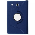 Rotary Lichee Pattern PU Case for Samsung Galaxy Tab E - Dark Blue