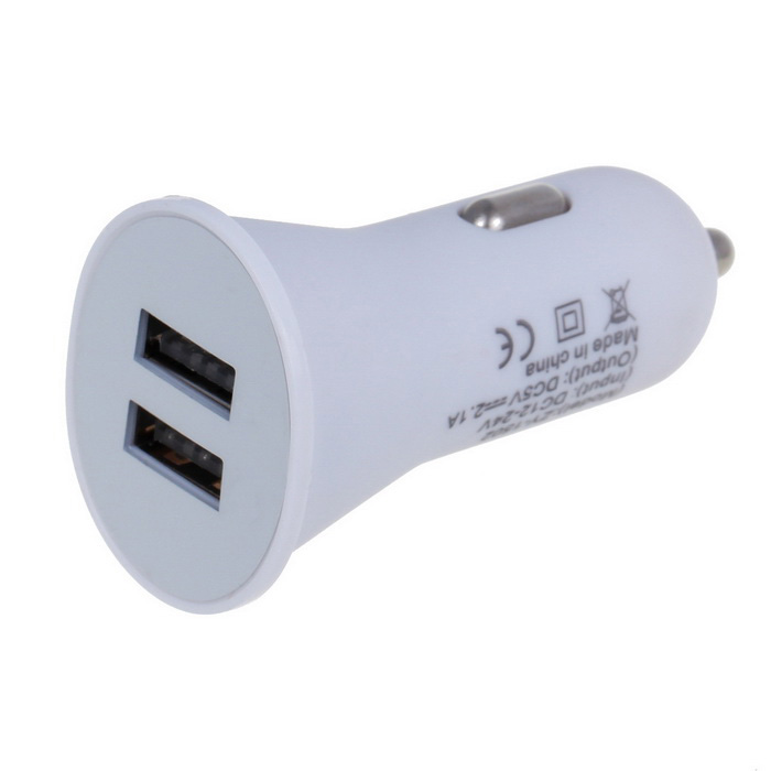 2.1A dual USB 2.0 snelladen autolader adapter - wit (12 ~ 24V)
