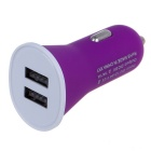 2.1A Double Ports USB Universal Quick Car Charger Adapter - Purple (12~24V)