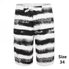 Men's Stripes Quick-Drying Beach Shorts - White + Black (Size 34)