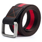 StripedWebbingQuick-DryNylonBeltw/DualRingBuckle-Coffee+Red(125cm)