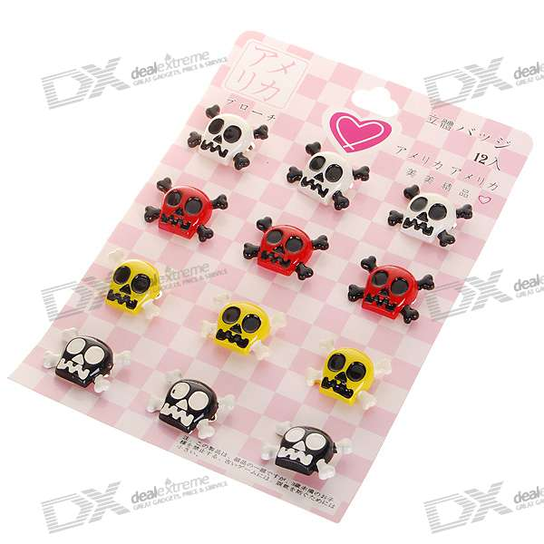 Cute Resin Brooches Set - Ghost Heads (12-Piece Set)