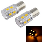 T20 18W 600lm 578nm 16-LED 2-Mode Orange Light COB Fog Light Bulbs (DC 12V / 2 PCS)