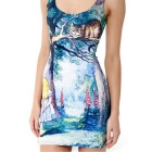 Sexy Cheshire Cat Printing Polyester Vest Dress - Deep Blue + Yellow
