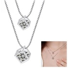 eQute PSIW44C1 Fashion Simple 925 Sterling Silver Double Crystal Pendants Necklace - Silver
