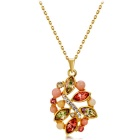 Five-piece Leaf Crystals Inlaid Pendant Necklace - Golden