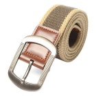 Striped Webbing Canvas Belt w/ Buckle - Khaki + Brown (125cm)
