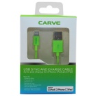 CARVE 8Pin Lightning M to USB2.0 M Data Cable for IPHONE6 - Green (1m)