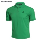 Lucky Sailing CSL01P Men's Short-Sleeved Polo Polyester T-Shirt - Green (Size M)