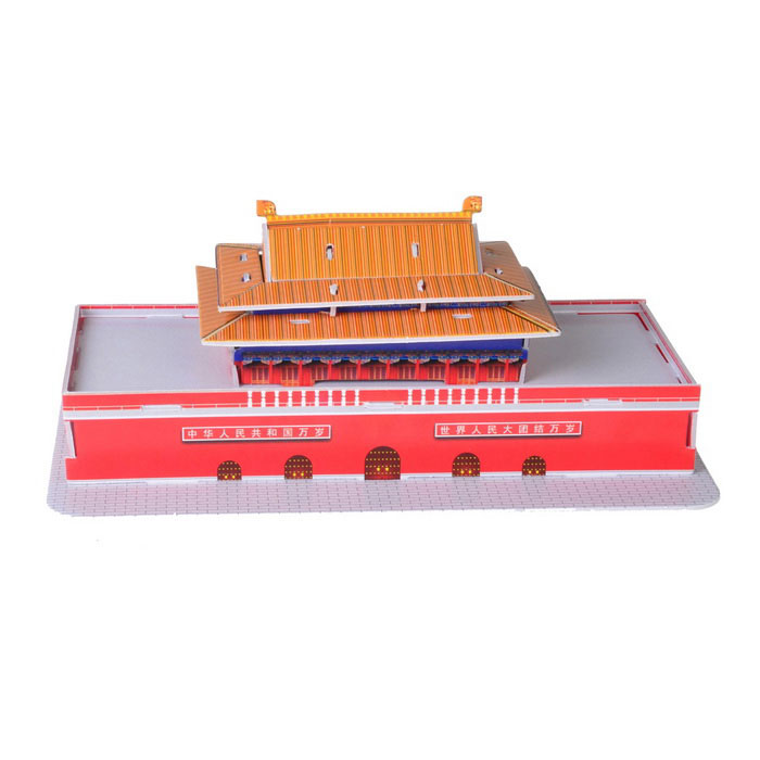 DIY 3D Puzzle Tiananmen Square Toy - Red + White + Yellow