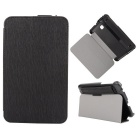 Toothpick Grain Pattern Protective PU + PC Case w/ Stand for Samsung Galaxy Tab 3 Lite T110 - Black