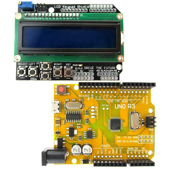 UNO R3 ATmega328P Board + LCD 1602 Keypad Shield Kit for ArduinoBoards &amp; Shields<br>Form  ColorCamouflage Yellow + BlackModelN/AQuantity1 setMaterialPCB + plastic + alloyChipsetATmega328PEnglish Manual / SpecYesDownload Link   http://drive.google.com/drive/folders/0B6uNNXJ2z4CxaEd2QWMxaDFKbms?usp=sharingOther FeaturesA product for Arduino that works with official Arduino boards.Packing List1 x Board1 x LCD kaypad shield<br>