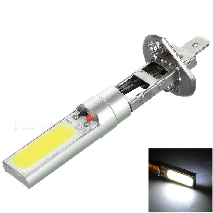H1 1W COB LED Car Backup Lamp Cold White 120lm - Silver + Yellow (12V)