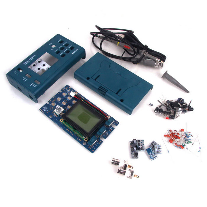 DSO068 Oscilloscope Kit Frequency Meter ATmega64 AVR MicrocontrollerKits<br>Form ColorBlueModelDSO068Quantity1 DX.PCM.Model.AttributeModel.UnitMaterialPCB + PlasticEnglish Manual / SpecNoDownload Link   http://www.copy.com/s/v8rAVeGcKvR2hx3rPacking List1 x PCB board1 x LCD screen25 x Resistances1 x Jump line3 x Diodes3 x Inductances29 x Capacitances1 x Connector1 x Switch1 x Buzzer2 x Triodes1 x Power socket<br>