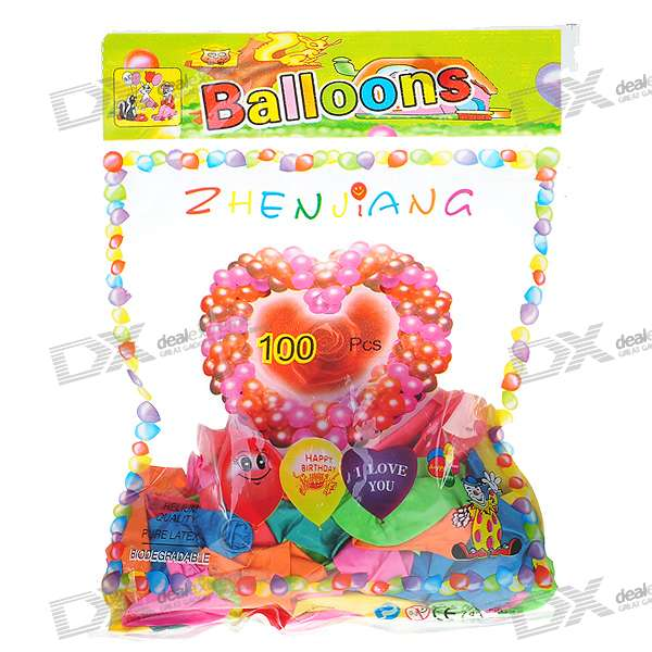 Cute Glossy Round Balloon - Assorted Color (100-Pack)