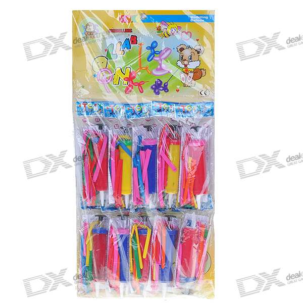 Long Balloon Assortment + Balloon Pump - Assorted Color (100-Pack)