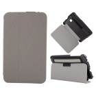 Toothpick Grain Pattern Protective PU + PC Case w/ Stand for Samsung Galaxy Tab 3 Lite T110 - Grey