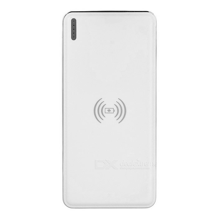 "Universal Qi ""10000mAh"" Wireless Dual USB Mobile Power - White"
