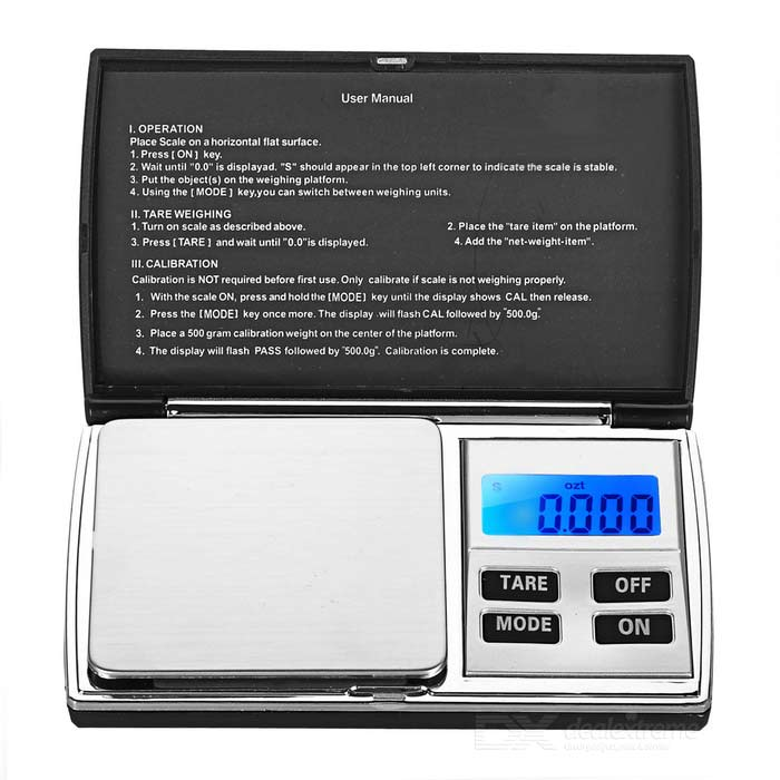 KL-08 1.2 Screen Pocket Digital Jewelry Scale (300g / 0.01g)Digital Scales<br>Form ColorBlack + SilverModelKL-08Quantity1 DX.PCM.Model.AttributeModel.UnitMaterialABSTypeJewelry Scale,Others,Pocket ScaleScreen Size1.2 inchMax. Weight300gMin. Weight0.05gUnitg,ct,oz,dwt,gnDivision0.01gAuto Power OffYesPowered ByAAA BatteryBattery Number2Battery included or notNoOther FeaturesUnit: g/oz/gn/ct/dwt/ozt.Packing List1 x Digital scale1 x Pouch 1 x Chinese / English manual<br>