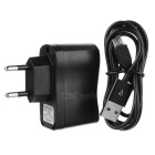 1m Male USB 2.0 to Male Micro USB Data Cable + EU Charger Adapter Set - Black