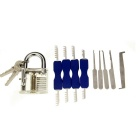 Practice Padlock + Double Heads Comb Style Stainless Steel Lock Pick + Single Hook Pick Set