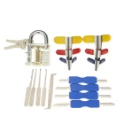 Practice Padlock + Single Hook Pick Tool + Padlock Shims + Double Heads Comb Style Lock Pick Set