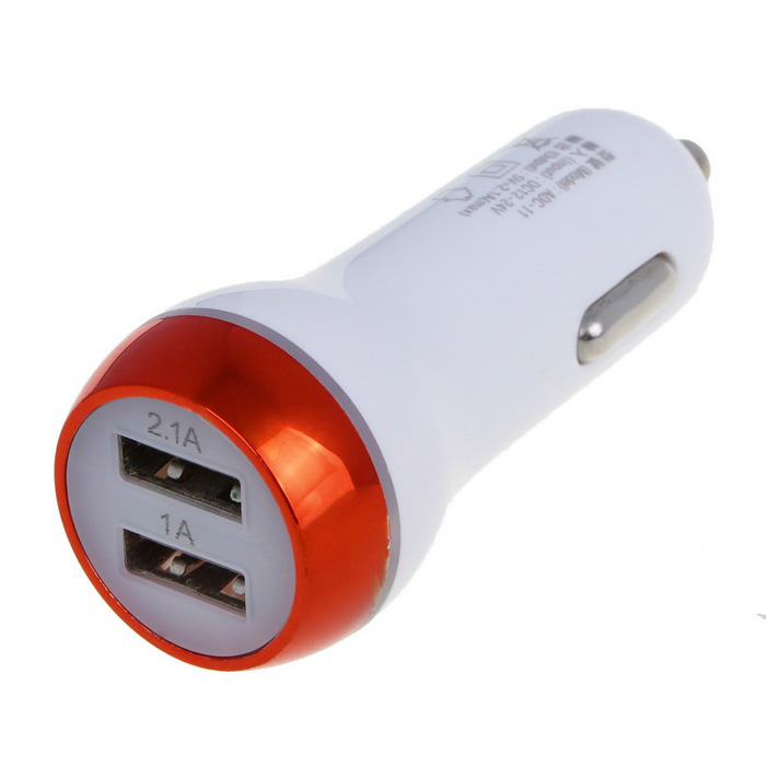 2.1A Dual USB Quick-Charging Car Charger - White + Red Orange (12~24V)