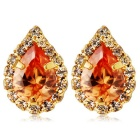 Champagne Teardrop Shaped Crystal Inlaid Earrings - Golden (Pair)