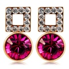 Square Crystal Inlaid Earrings - Purple + Rose Gold (Pair)