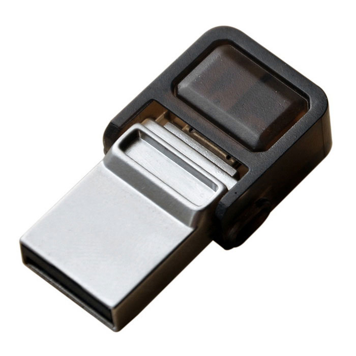OTG micro USB / USB 2.0 flash drive para telefone, PC - prata (32GB)