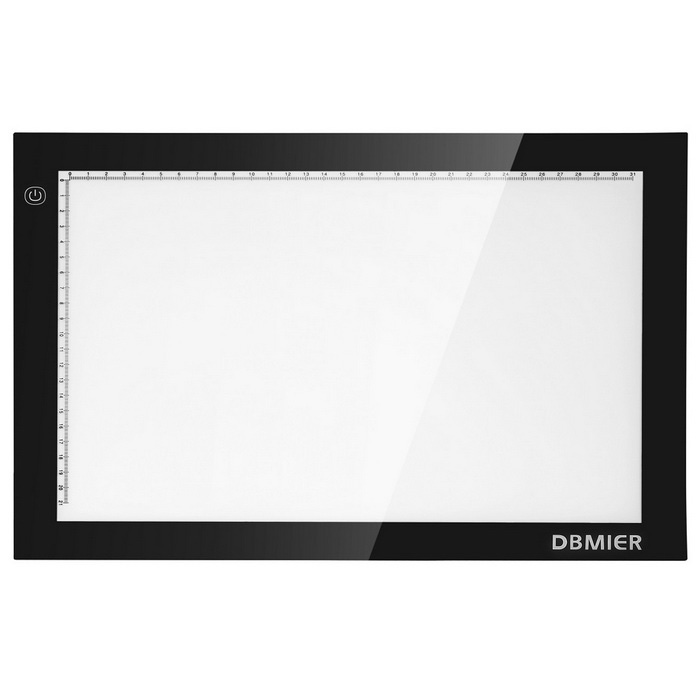 Dbmier A4 Adjustable LED Light Tracer Artcraft Pad Box - Black + White