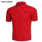 Lucky Sailing Men's Quick-dry Short-sleeved Polo T-Shirt - Red (XL)