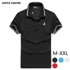 Lucky Sailing Men's Short-sleeved Polo Polyester Shirt - Black (L)