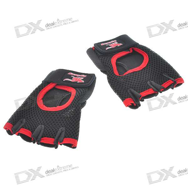 Sports y Guantes Leisure de Cuero - Negro + Rojo (Pair)