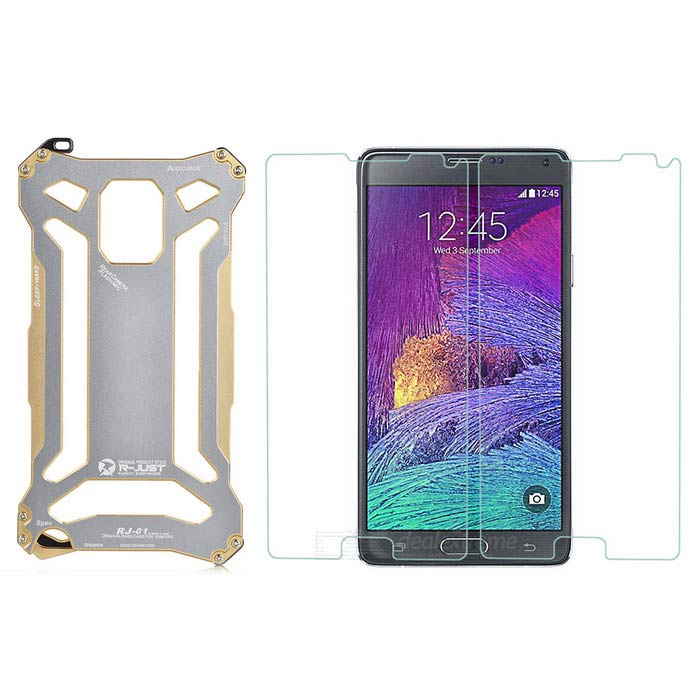 big sale d6188 75bf2 R-JUST Protective Waterproof Aluminum Alloy Case + Tempered Glass Film for  Samsung Galaxy Note 4
