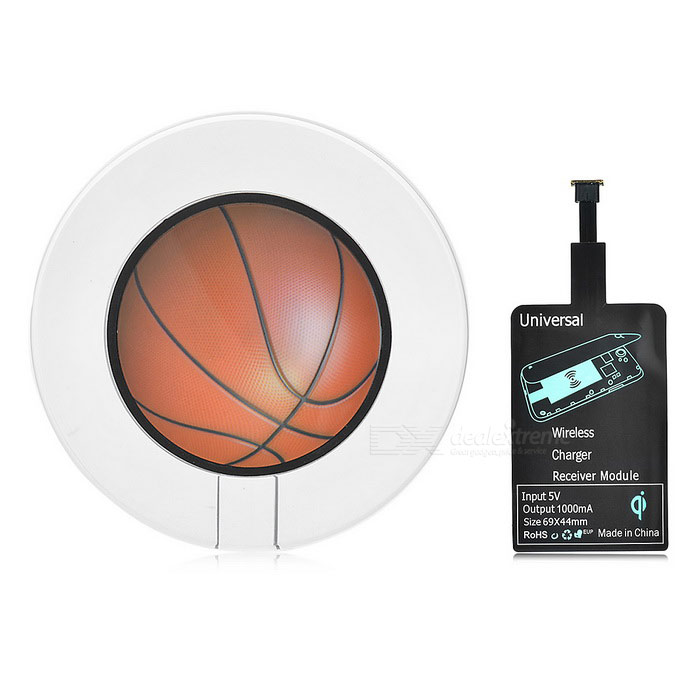 Luminous Basketball Style Qi Wireless Charger w/ Receiver Pad - Black