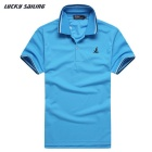 Lucky Sailing CSL02P Men's Short-sleeved Polyester Polo Shirt - Light Blue (M)