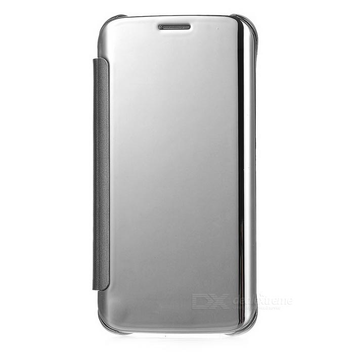 Protective Mirror Cover PU Case for Samsung Galaxy S6 Edge - Silver