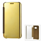 Protective Mirror Cover PU Case for Samsung Galaxy S6 Edge - Gold