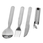 4-in-1 Tableware Knife + Fork + Spoon + Bottle Opener Set - Silver
