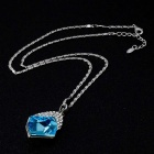 Quadrilateral Sky Blue Crystal Pendant Necklace for Women - Silver