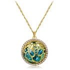 Fashionable Rose Pattern Crystal Pendant Necklace - Golden