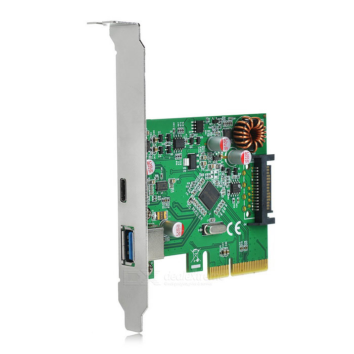 PCI-E to USB 3.1 Type C / USB 3.1 Type A Adapter Card - Green + BlackForm ColorGreen + BlackQuantity1 DX.PCM.Model.AttributeModel.UnitMaterialPCBPacking List1 x Adapter card1 x CD<br>