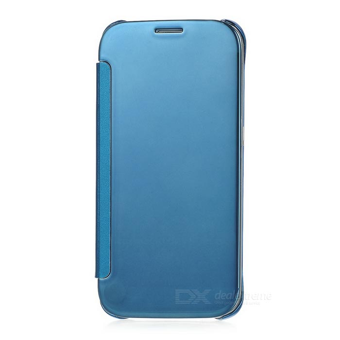 Protective Mirror Cover PU Case for Samsung Galaxy S6 - Blue