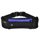 Fashion Sports Canvas + Cotton Waist Bag w/ Earphone Hole - Black + Blue
