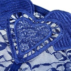 Sexy Lace Perspective Heart Shaped T-back for Women - Blue