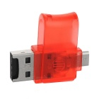 Rotary USB 2.0 to Micro USB OTG Adapter + TF Card Reader - Red + Silver