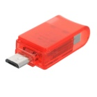 Rotary USB 2.0 to Micro USB OTG Adapter, TF Card Reader - Red + Silver